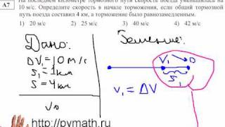 ЕГЭ физика  А7. Тормозной путь.Видео урок.