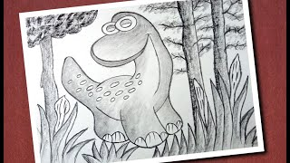 How to drawing dinosaur   dinosaur drawing for beginners   learn drawing step by step