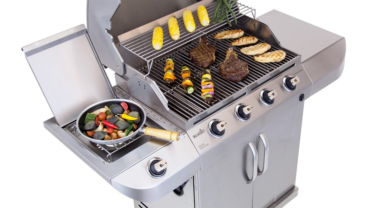 Char broil commercial series gas grill - Char Broil Stainless 4 Burner Gas Grill Lowe S Exclusive