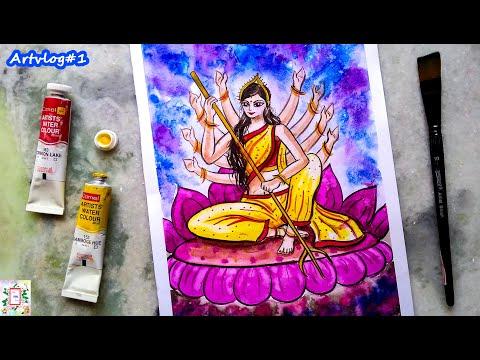 How to draw Maa Durga ?   Easy Watercolor Painting  DURGA PUJA 2020   ART VLOG #1   Art For Fun