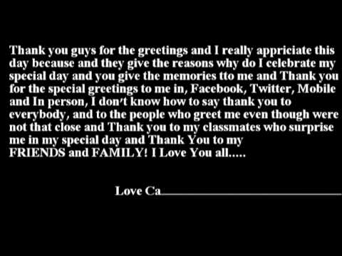 Thank You Message to my Birthday YouTube – Thank You Message for My Birthday Greetings