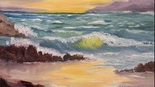 "Paint Along with Larry Hamilton - Jan-15-2014 - Oil Painting ""Oregon Seascape"" for Class"