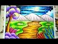 Cara menggambar dan Mewarnai Pemandangan Alam Mudah