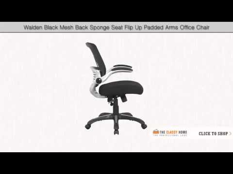 manhattan comfort walden black mesh back sponge seat flip up padded