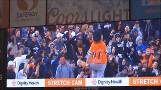 7th inning stretch, San Francisco Giants vs LA Dodgers, April 2015
