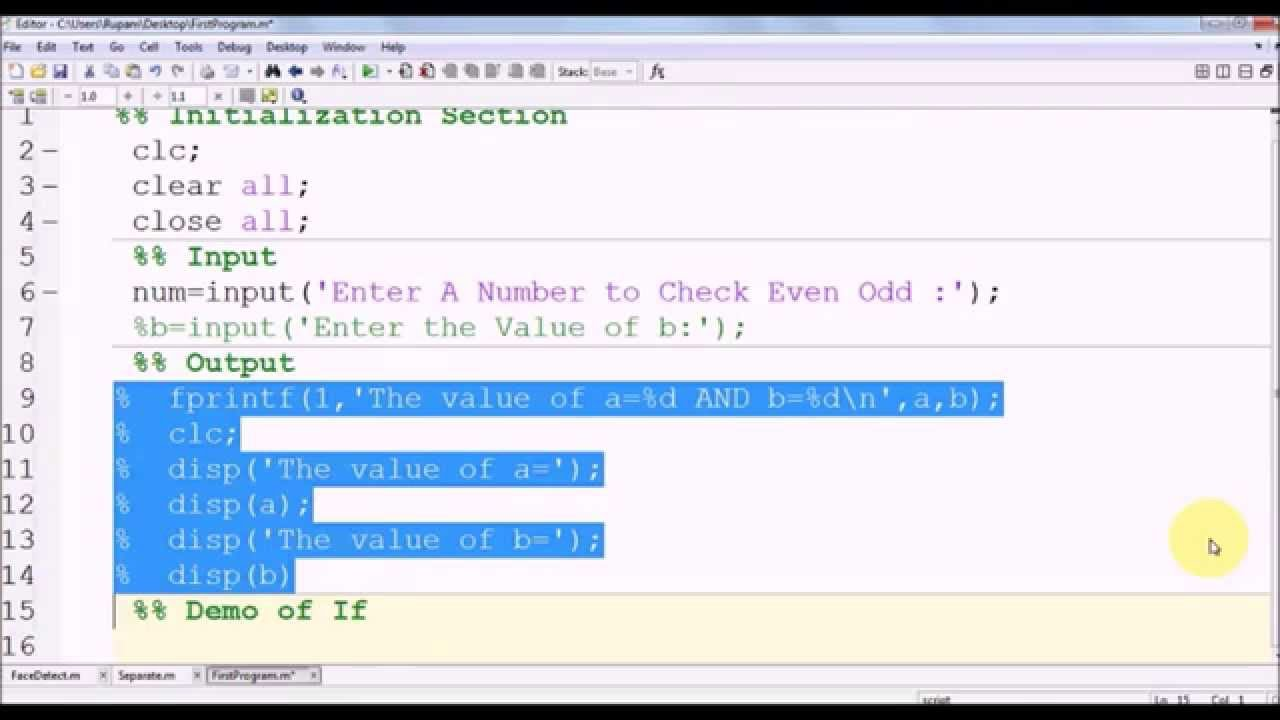 Matlab basics part 2 input output control statement for Table 2 matrix matlab