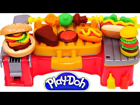 Play Doh Cookout Creations New Playdough Grill Makes Play-Doh Hotdogs Hamburgers Kabobs