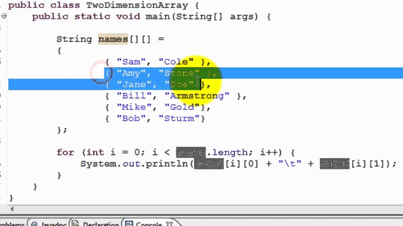Java Tutorial - Two dimensional array