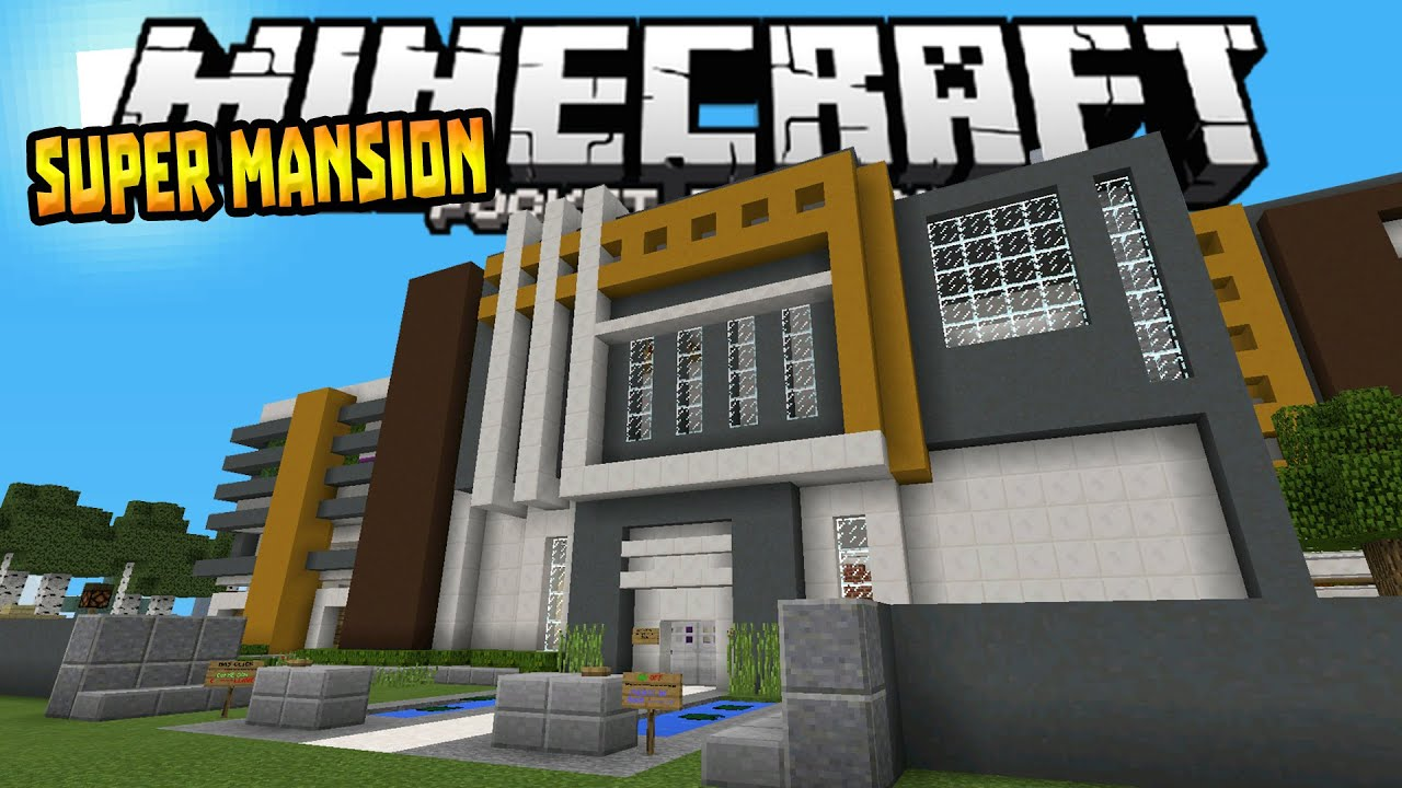 MANSION HOUSE in MCPE 0152 Modern Redstone House