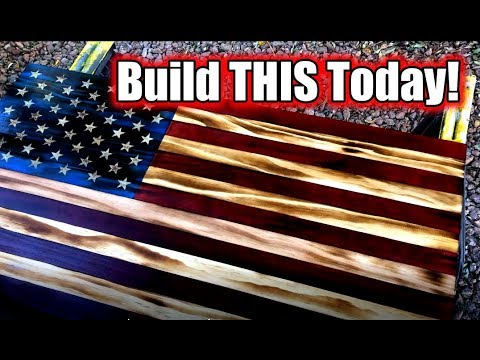 Rustic Burnt Wood American Flag Build