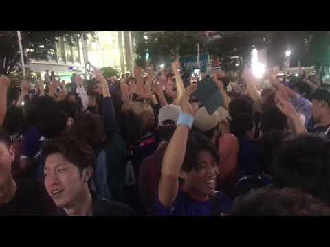 渋谷スクランブル交差点 (Shibuya Crossing) -日本がコロンビアに勝った夜- 19 June 2018 part1