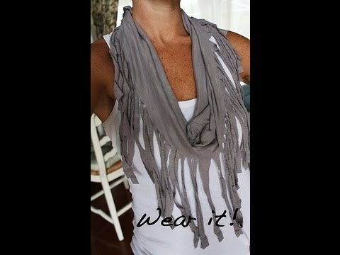diy pancho foulard frange avec un vieux t shirt. Black Bedroom Furniture Sets. Home Design Ideas