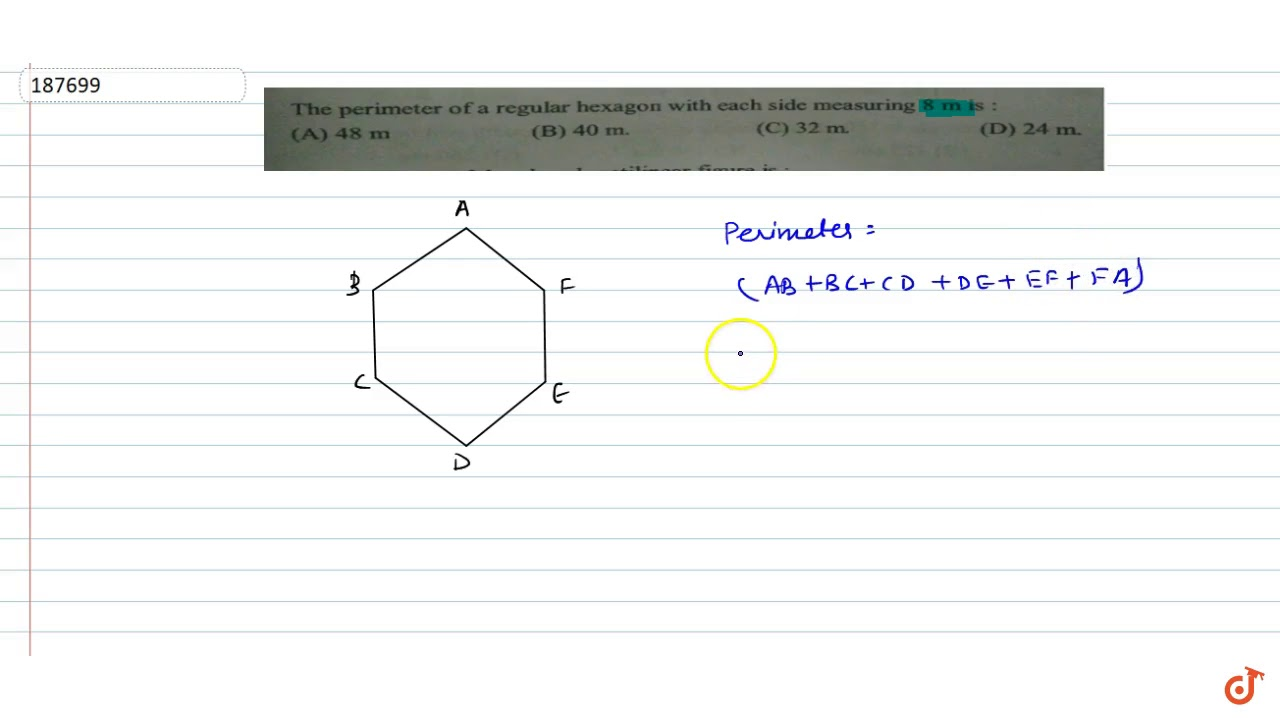 The Perimeter Of A Regular Hexagon With Each Side Measuring 8 M Youtube