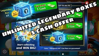 Again 5 cash Unlimited legendary boxes offer | 8 ball pool |