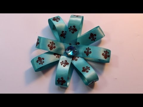 How To Make Very Easy Christmas Ribbon Flower Bow