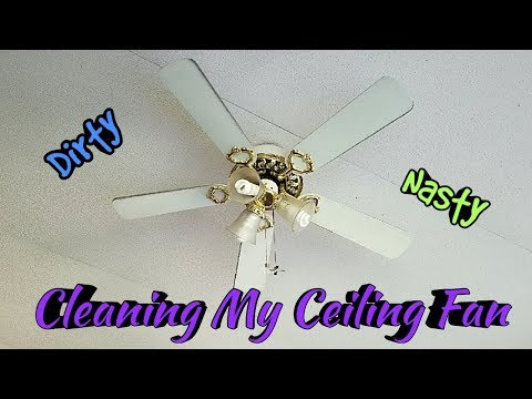 CLEANING MY CEILING FAN | EASY WAY TO CLEAN A CEILING FAN | DUSTING MY DIRTY CEILING FAN