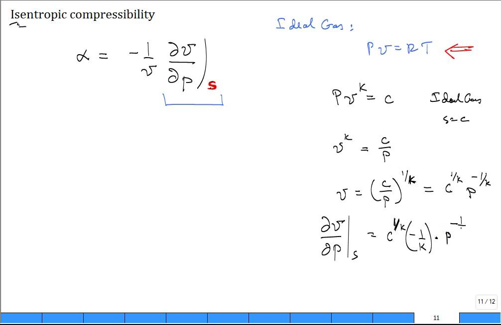 Isentropic Compressibility For Ideal Gas