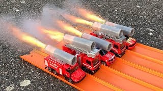 HOT WHEELS FIRE TRUCKS ROCKET POWERED RACE !!