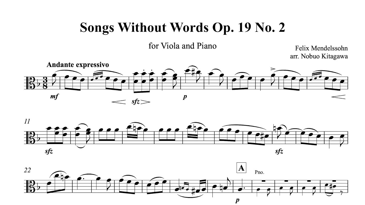 Songs Without Words for Viola and Piano Op. 19 No. 2 ビオラとピアノの為の無言歌 作品19の2