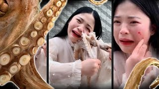 Девушка решила съесть живого осьминога и едва не поплатилась за это