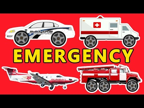 Emergency FIRE TRUCK - POLICE CAR - AMBULANCE - Transport sounds - Educational videos for children