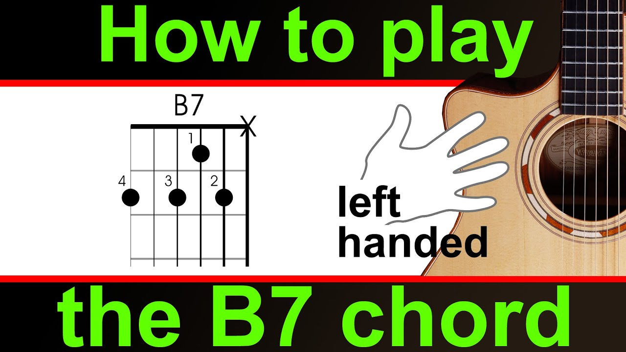 Left Handed Guitar How To Play The B Dominant Seven Or B7 Chord