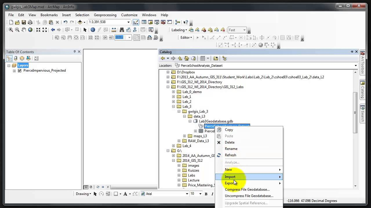 GIS 312 Lab 3 importing to gdb fds| a GIS ArcMap 10 0 SP3 Video Tutorial by  Gregory Lund