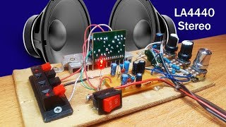 How to make Amplifier Stereo using IC LA4440 with 4558 ic bass treble circuit diagram
