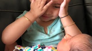 Cutest peekaboo | Toddler plays with new born baby