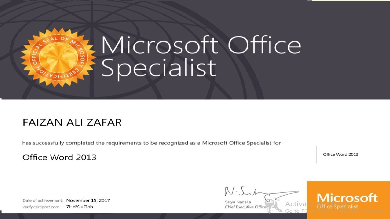 Microsoft office specialist word 2013 certification successfully microsoft office specialist word 2013 certification successfully complete by it learning tutus ceo xflitez Image collections