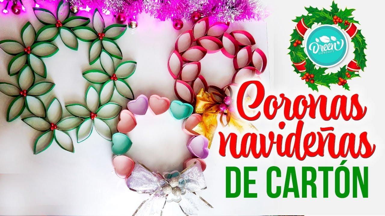 Coronas navide as reciclando rollos de papel higi nico - Como hacer coronas de navidad ...
