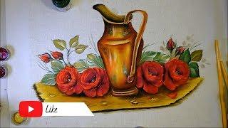 Aprenda a Pintar Rosas e Folhas em Tecido – Parte 2