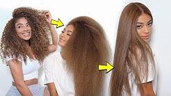 Straightening Natural/Dyed Hair SILKY SMOOTH w/ONE SWIPE!! | jasmeannnn