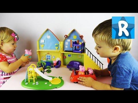СВИНКА ПЕППА Дом Пеппы Открываем и Играем Peppa Pig House Deluxe Daddy Mummy Pig