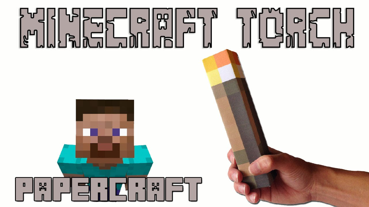 Papercraft How to make a Real Life Minecraft TORCH (Papercraft Minecraft)