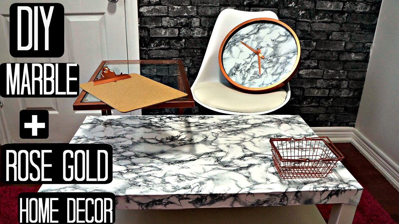Diy rose gold marble room decor pinterest and tumblr for Room decor rose gold