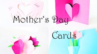 Basteln mit Papier: 4 wunderschöne Karten zum Muttertag. Pop-up Karten selber basteln. Deutsch