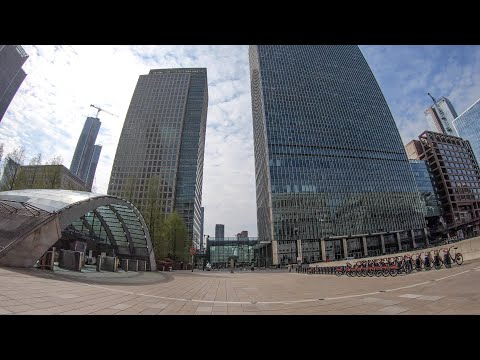 Deserted Streets Of London During Lockdown. A Walk Through Canary Wharf