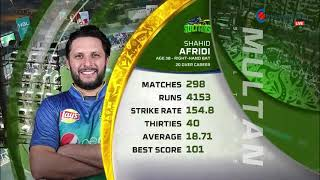 Shahid Afridi Batting Against Quetta Galaditors|| Multan sultan Vs quetta||Psl 4