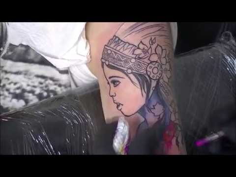 Watercolor girl tattoo - time lapse
