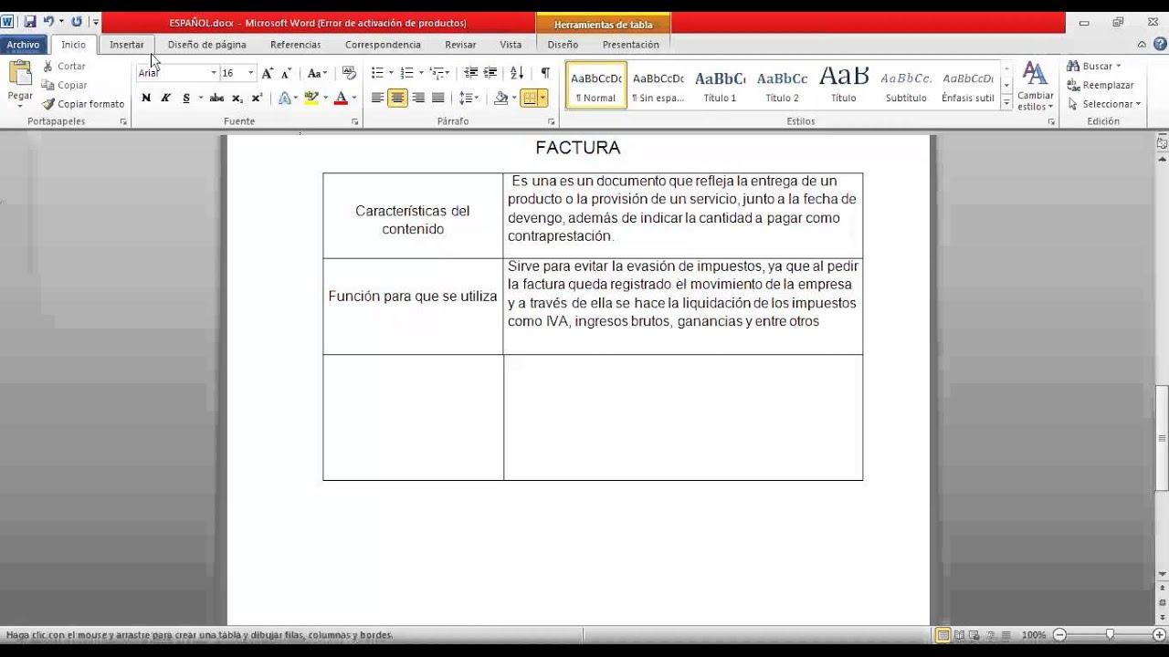 Como hacer los cuadros en documento de word  YouTube