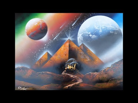 Spray paint art – Pyramide in space – made by street artist