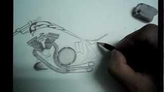 Drawing a chopper  bike