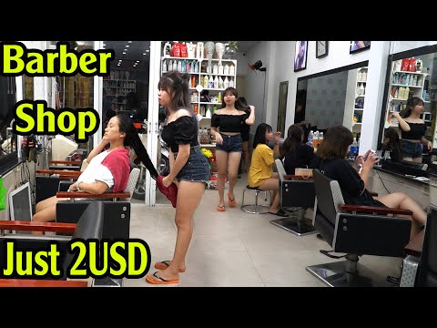 Massage Face In Barber Shop Vietnam With Young Girl Just 2USD