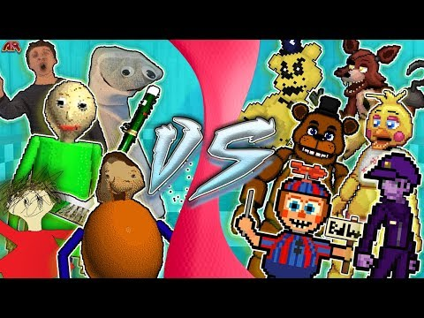BALDI'S BASICS Vs FIVE NIGHTS AT FREDDY'S PART 1 (Baldi's Basics Research) Cartoon Fight Club