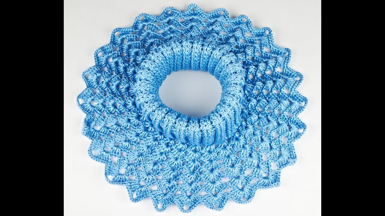 оригинальная манишка-шарф спицами схема