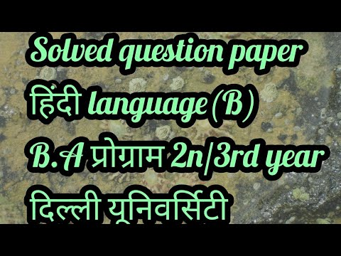 Sol du Question paper B.A(Programme)2/3rd year हिंदी भाषा (ख)