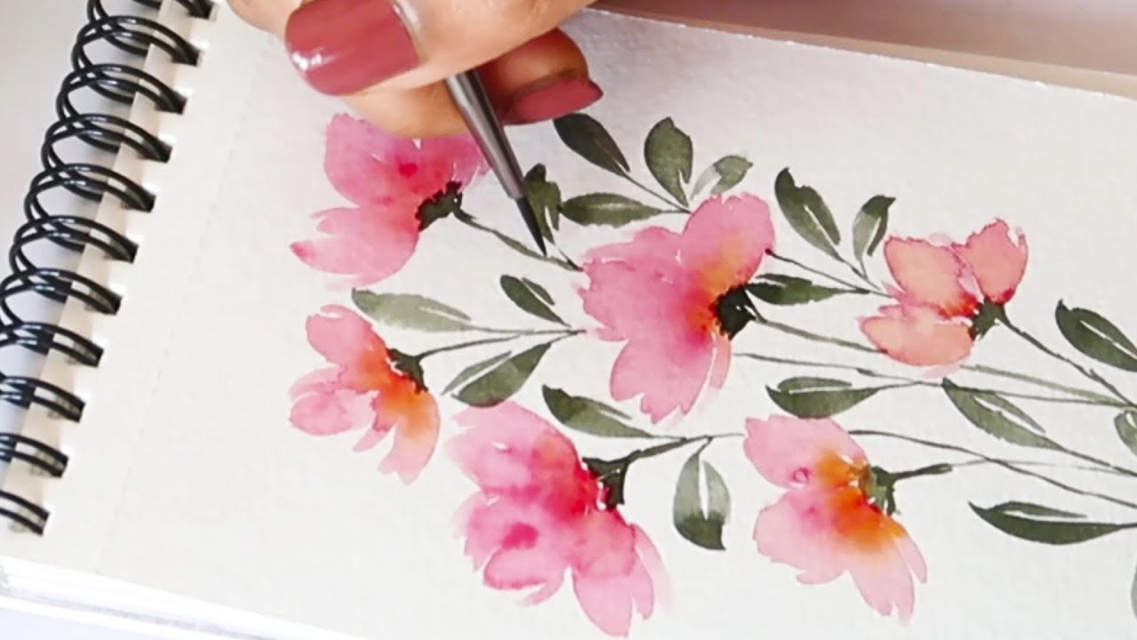 How To Paint Easy And Quick Flower Bunch Watercolor Florals Easy Florals Painting Ideas Youtube