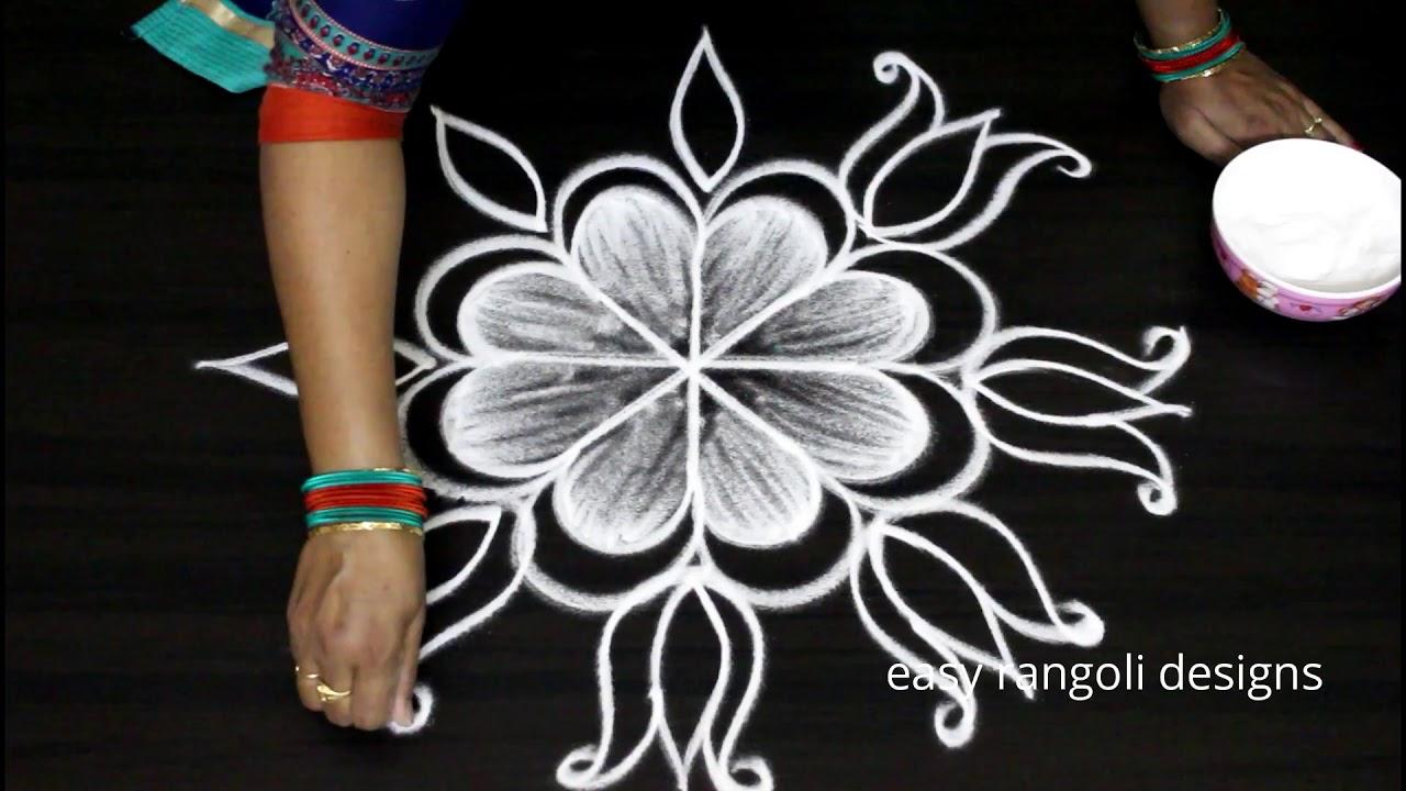 Cute Freehand Kolam With Lotus Flowers By Easy Rangoli Designs