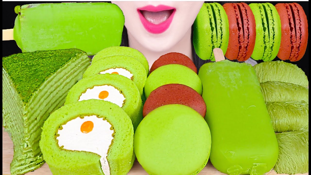 ASMR GREEN TEA CHOCOALTE GELATO, GREEN TEA CREPE CAKE, DRAGON BEARD CANDY 녹차 디저트 먹방 EATING SOUNDS